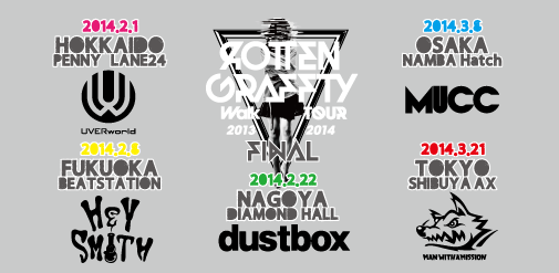 "News ROTTENGRAFFTY ""Walk"" TOUR 2013-2014 FINAL 全公演SOLD OUT!!"